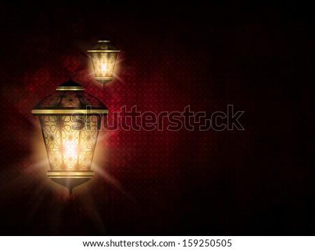shiny lantern over dark red eid al fitr backgrorund - stock photo