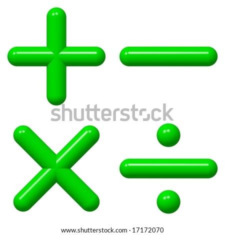 Shiny math symbols isolated on white - stock photo