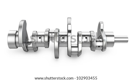 Shiny meta crankshaft, isolated on white background