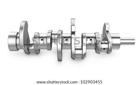 Shiny meta crankshaft, isolated on white background - stock photo