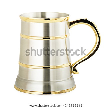 Shiny metal beer mug on a white background