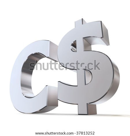 shiny metal Canadian Dollar sign - silver/chrome style - low camera angle