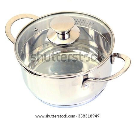 Shiny Metal Pan Isolated on a White Background - stock photo