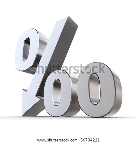 shiny metal per mille symbol with an arrow down - stock photo