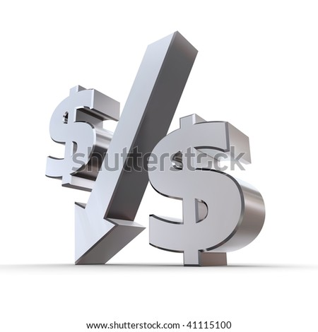 shiny metal percentage symbol with an arrow down, zero replaced by dollar symbols - stock photo