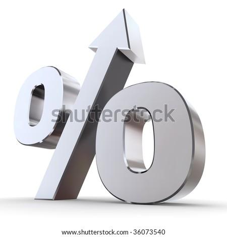 shiny metal percentage symbol with an arrow up - stock photo