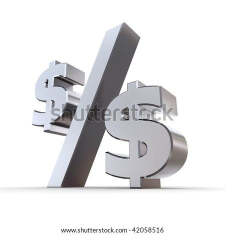 shiny metal percentage symbol - zero replaced by dollar symbols - stock photo