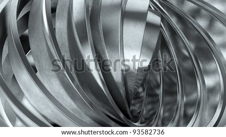 Shiny metal rings abstract background - stock photo
