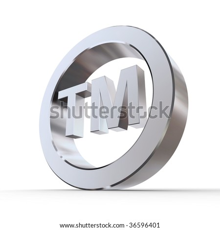 shiny metal trademark sign - silver/chrome style - low camera angle - stock photo