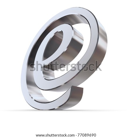 shiny metallic curved e sign in an AT symbol look - silver-chrome style - stock photo
