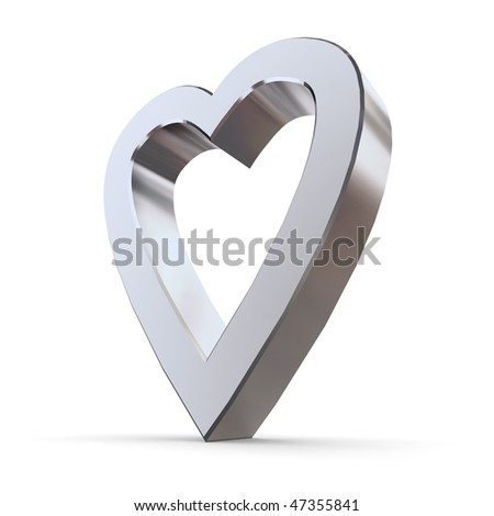 shiny metallic 3d heart of silver/chrome - outline version - stock photo