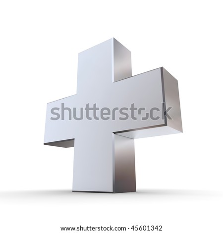 shiny metallic 3d symbol of a cross made of silver/chrome - stock photo