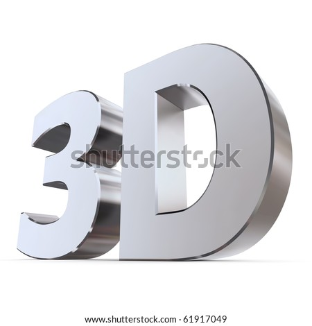 shiny metallic 3d word 3D made of silver/chrome - stock photo
