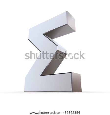 shiny metallic greek upper 3d letter Sigma made of silver/chrome