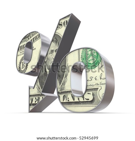shiny metallic percentage symbol with an arrow down - front surface textured with a 5 Dollar note - stock photo