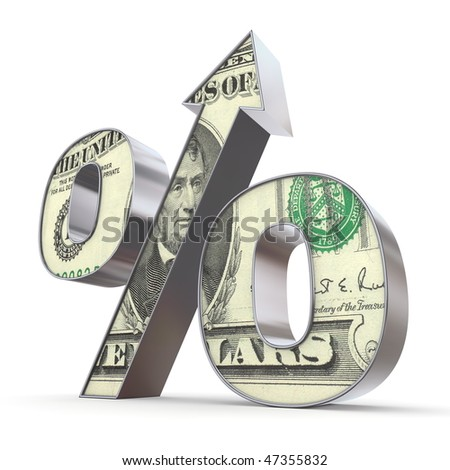 shiny metallic percentage symbol with an arrow up - front surface textured with a 5 dollar note - stock photo