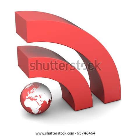 shiny metallic red RSS symbol rendered in 3D on white ground