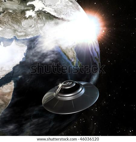 shiny metallic ufo approaching eart - stock photo