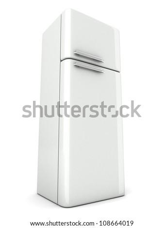 shiny modern white refrigerator on white background - stock photo