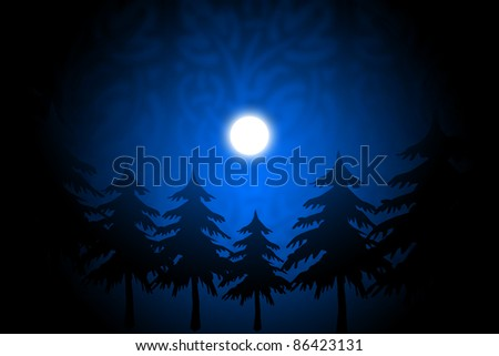 shiny moon in blue vector background - stock photo