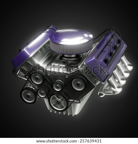 shiny motor isolated on black - stock photo