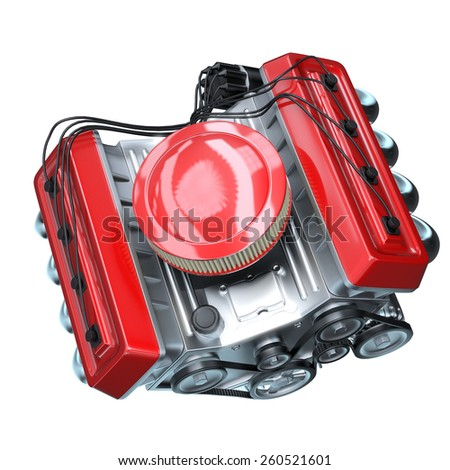 shiny motor isolated on white - stock photo