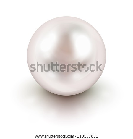Shiny natural white pearl with light effects - stock photo