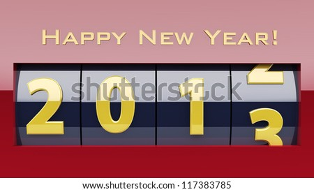 Shiny New Year counter with happy new year wish revealing the year 2013. - stock photo