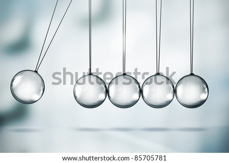 Shiny Newton's cradle illustration - stock photo
