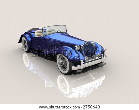 Shiny old Hot Rod 3D model of vintage blue convertible car on reflective surface with clipping work path included, in side view - stock photo
