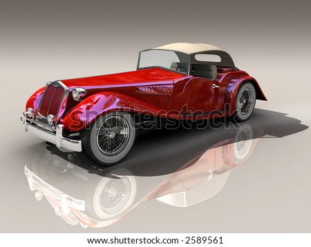 Shiny old Hot Rod 3D model of vintage red car on reflective surface with clipping work path included, in side view - stock photo
