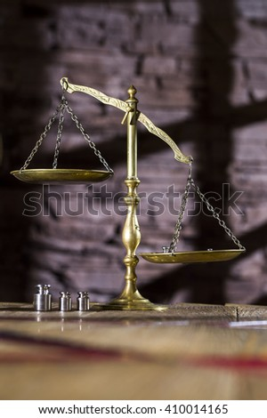 shiny old scales, symbol of justice