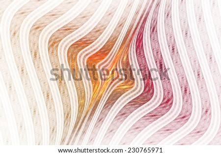 Shiny orange / gold, pink abstract woven curved design on white background  - stock photo