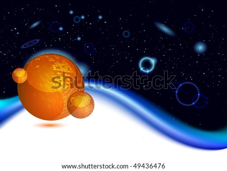 Shiny orange planet in deep space, illustration - stock photo