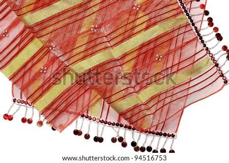 shiny oriental vibrant silk texture close up - stock photo