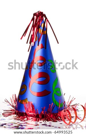 Shiny party hat on background with confetti - stock photo