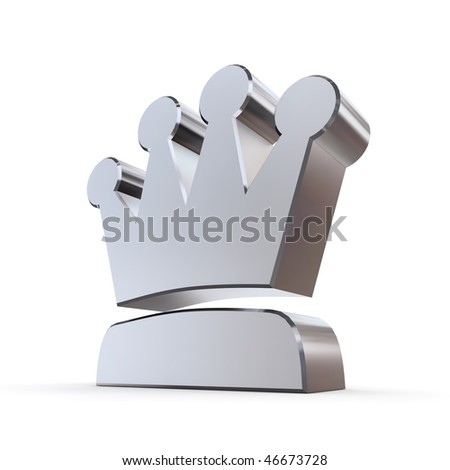 shiny peaked solid 3d crown made of silver/chrome