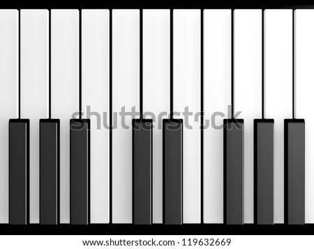 Shiny piano keys on grand piano. - stock photo