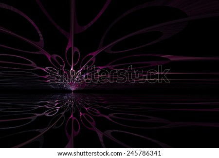 Shiny pink, peach and magenta abstract sky / tree design on black background - stock photo