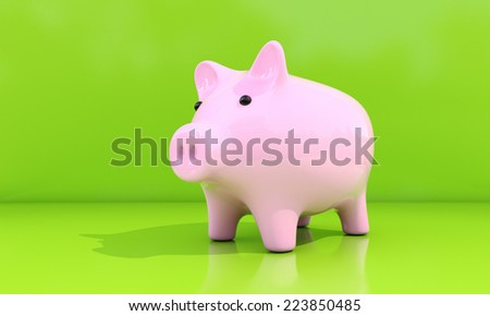 Shiny pink piggy bank on a green background - stock photo