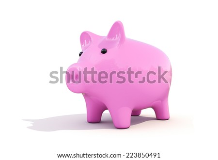 Shiny pink piggy bank on a white background