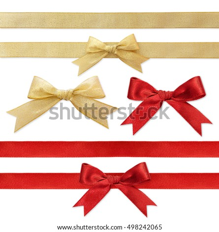 Shiny red and gold satin ribbons on white background