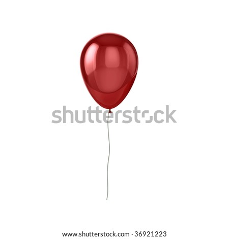 Shiny red balloon, isolated on white background.