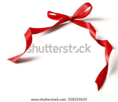 Shiny red bow isolated on white - stock photo