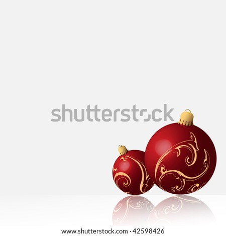 Shiny red christmas balls - stock photo