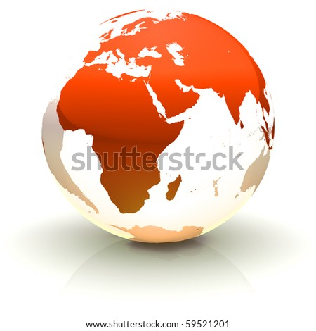 Shiny red continents-only globe marble with highly detailed continents facing Africa and Middle-East - stock photo