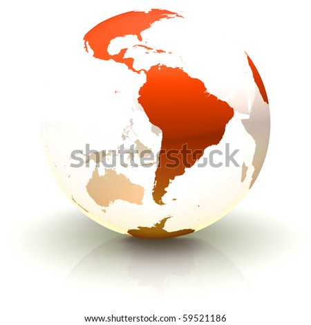 Shiny red continents-only globe marble with highly detailed continents facing South America - stock photo