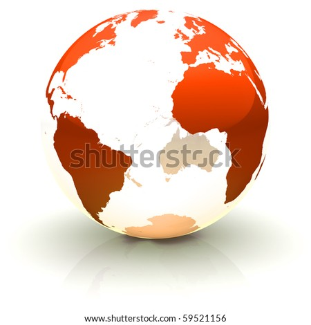 Shiny red continents-only globe marble with highly detailed continents facing the Atlantic ocean - stock photo
