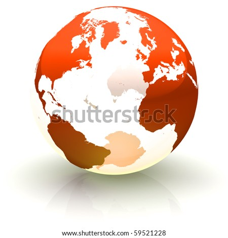 Shiny red continents-only globe marble with highly detailed continents facing the North Atlantic