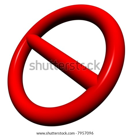 Shiny red 3d no admittance symbol isolated on white - stock photo